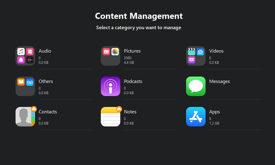 5. Content Management easeus mobimover transfer contacts from iPhone to PC