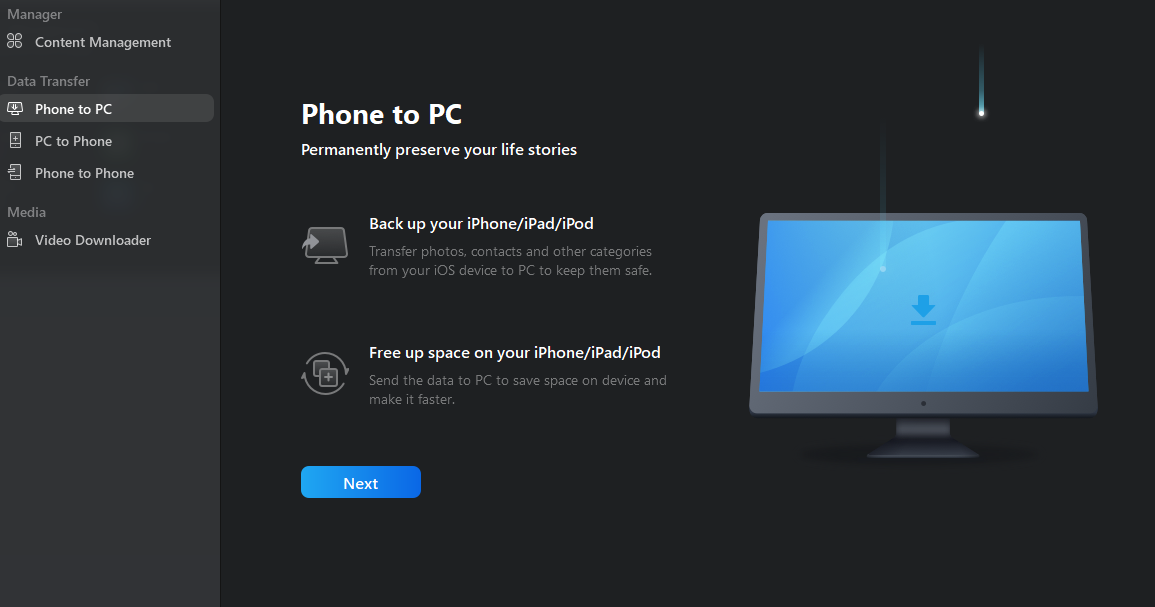 6. Phone to PC HomeScreen