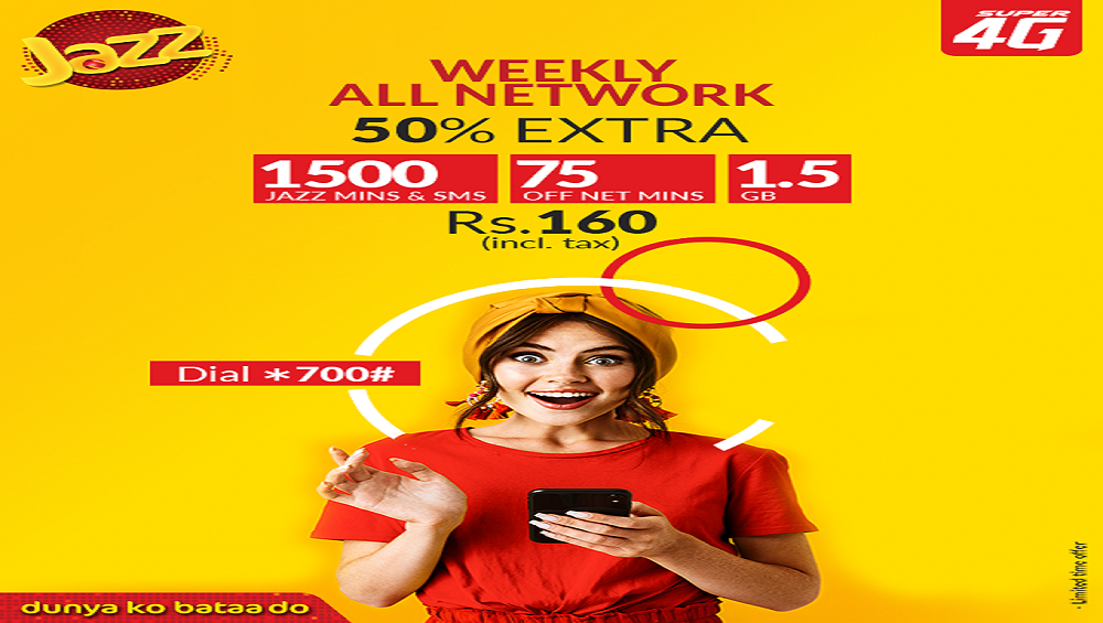 Now Get Jazz Weekly All Network offer at Rs. 160/