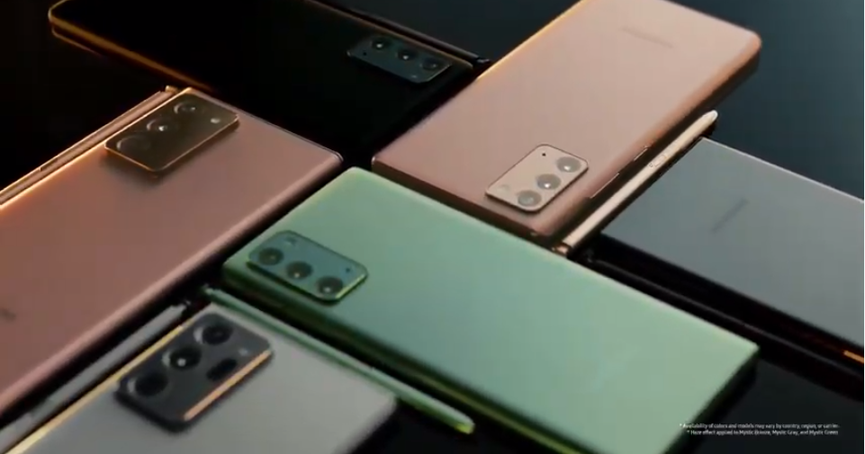 These are the Mystic Color Options for Galaxy Note 20 Series