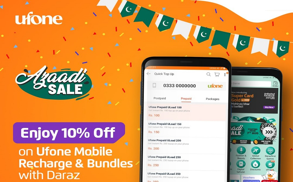 Enjoy 10% off on Ufone Mobile Recharge & Bundles on Daraz Azaadi Sale