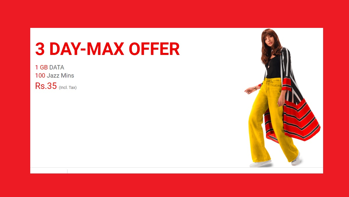 Jazz 3 Day Max offer