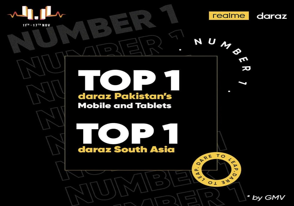 Photo of realme Pakistan ranked the Top 1 smartphone brand (GMV) in mobile & tablets category for Daraz 11 11 Sale