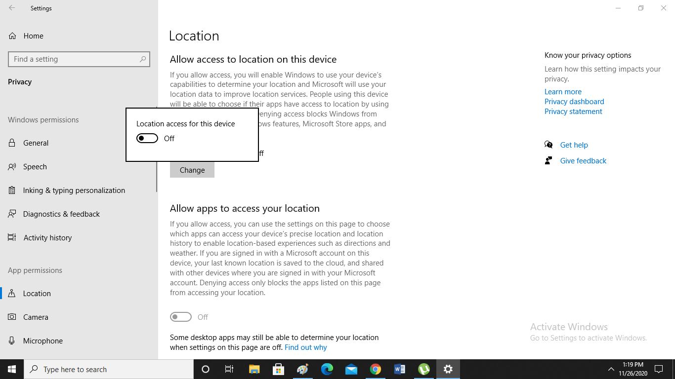 چطور در ویندوز 10، دسترسی به مکان را خاموش کنیم؟