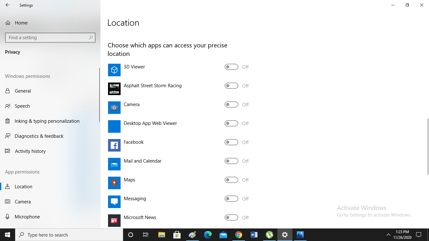 turn off location access for apps on Windows 10