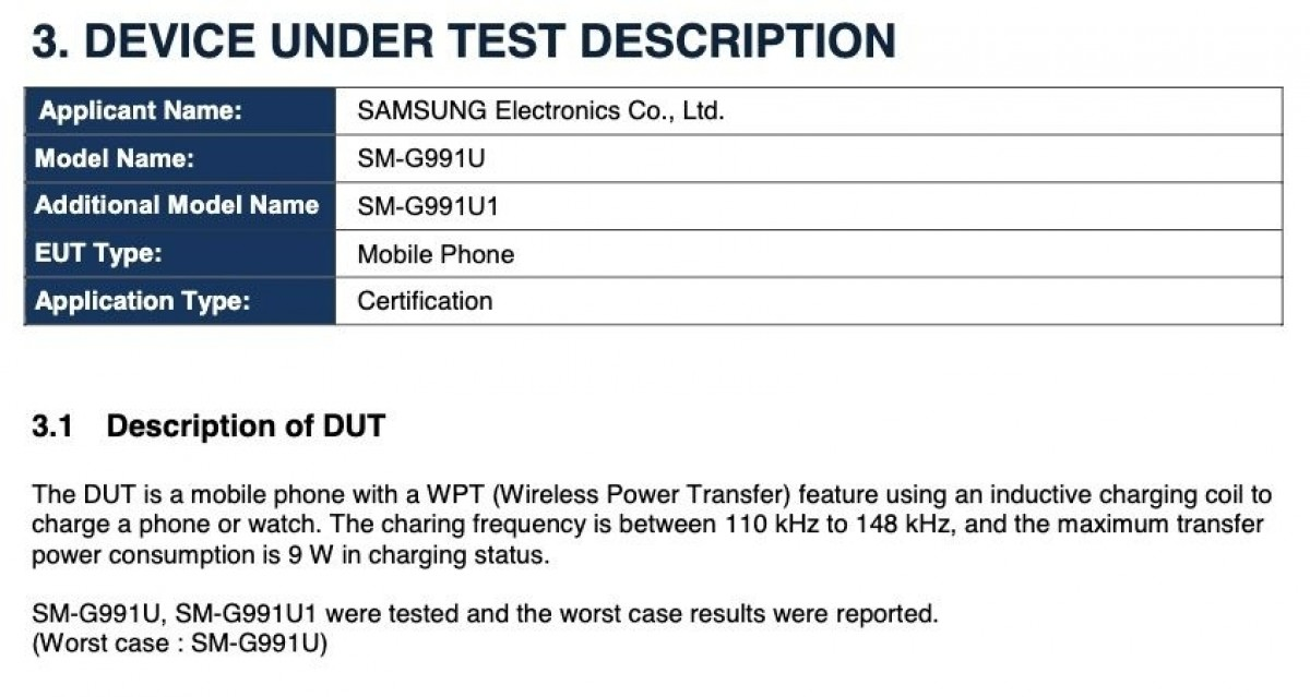 Samsung Galaxy S21 FCC