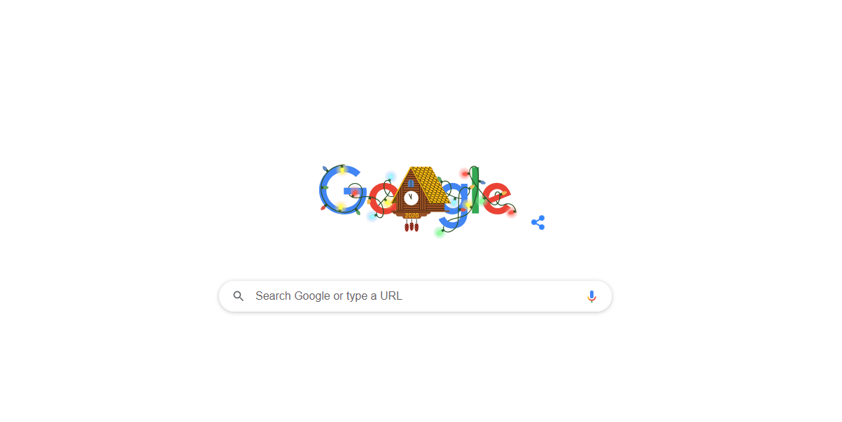 Photo of Google Doodle celebrates New Year's Eve with a 2020 clock waiting to strike midnight