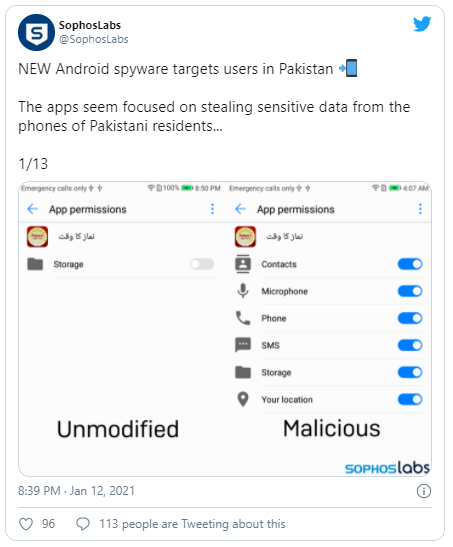 Five trojanized versions of Android legal software that carry out covert monitoring and espionage on users in Pakistan have been discovered by cyber security researchers.  The malicious variants have been found to obstruct their operations in order to gradually download payloads in the form of an Android Dalvik (DEX) file, designed to masquerade applications such as Pakistan Citizen Portal, Pakistan Salat Time, Mobile Packages Pakistan, Registered SIM Checker and TPL insurance. 'The payload of DEX includes most malicious functionality, including the ability to covertly exfiltrate sensitive data such as the user's contact list, and the full content of SMS messages,' says Pankaj Kohli, Sophos threat researchers. 'The software then sends this information to one of a few command and control websites hosting servers available in eastern Europe. Also previously prominently seen on the trading company website was a fake version of the Pakistan Citizen Portal, potentially in order to enable unsuspecting users to download the malware-laced app, which also provides confidential information, such as computerized national identification card numbers, passport data, user and Facebook password. Sophos researchers also found an application known as Pakistan Chat, that did not distribute a benign analogue via the Google Play Store. But the API of a legitimate chat service ChatGum was found to be leveraged in the app. When enabled, the app can seek permits to capture sensitive details on a victims device including information on the phone, location, contact lists, SMS content, call logs, and a complete list of internal and SD card storage folders.