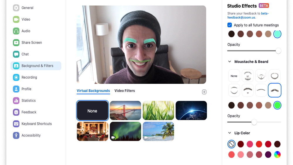Zoom Adds Facial Effects