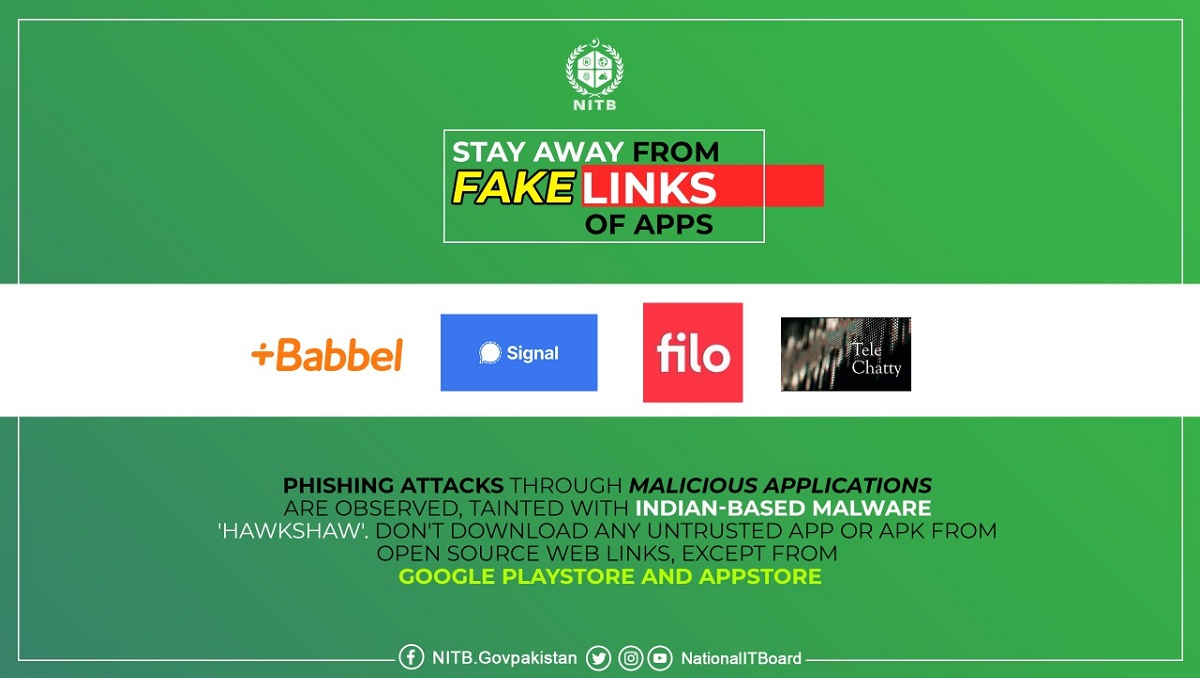 Photo of Indian Hackers Could Infect Pakistani Users with Malware Through Fake Apps- NITB Warns
