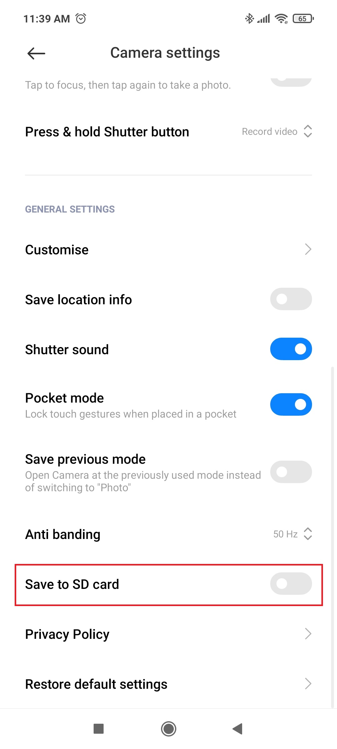android save photos to sd card by default