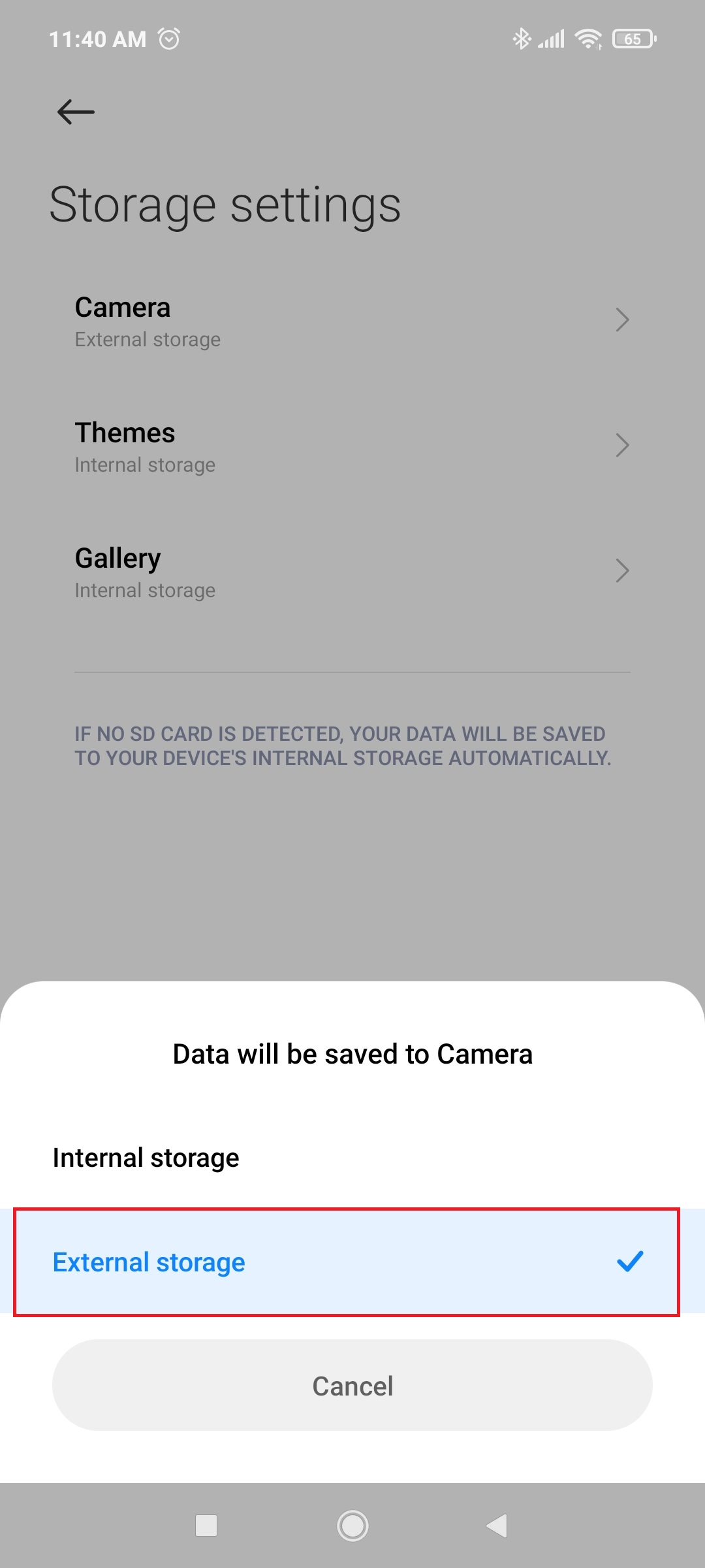 how to change camera storage location android