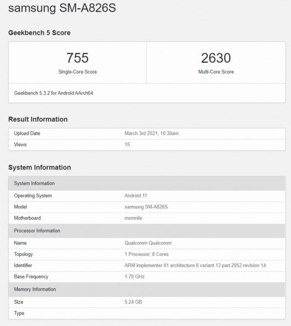 بررسی مشخصات گوشی سامسونگ گلکسی A82 5G طبق لیست Geekbench
