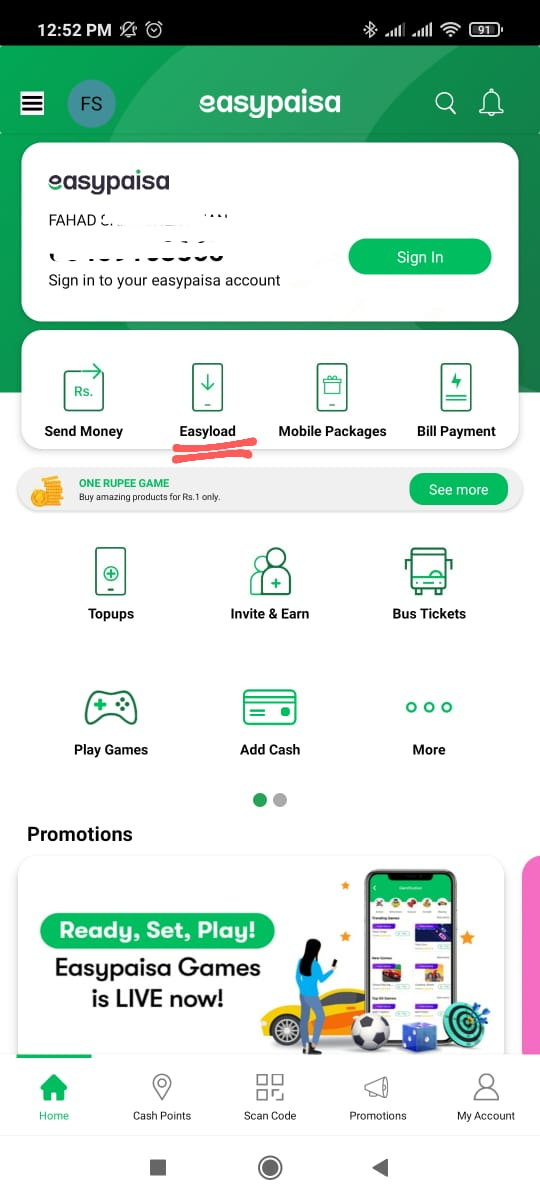 recharge zong number via easypaisa app