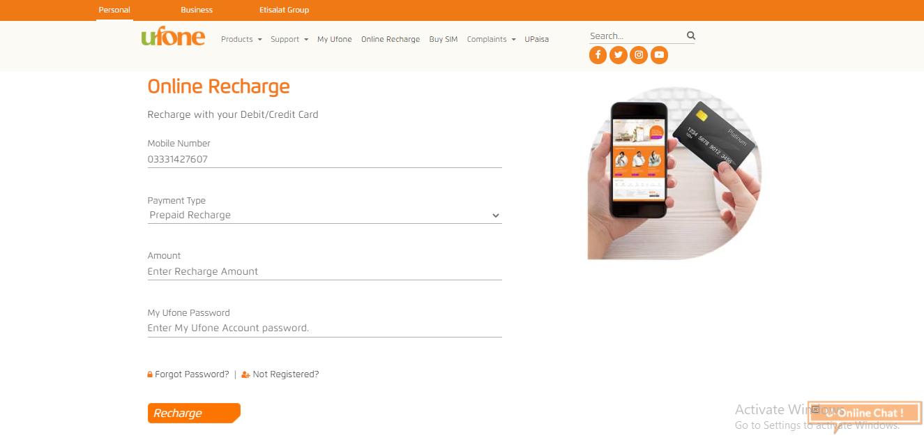 load ufone card via website