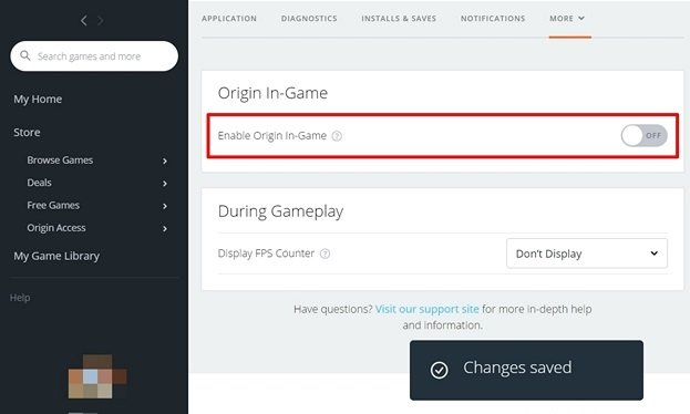 Disable Origin from the Settings
