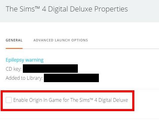 Origin settings off from main menu
