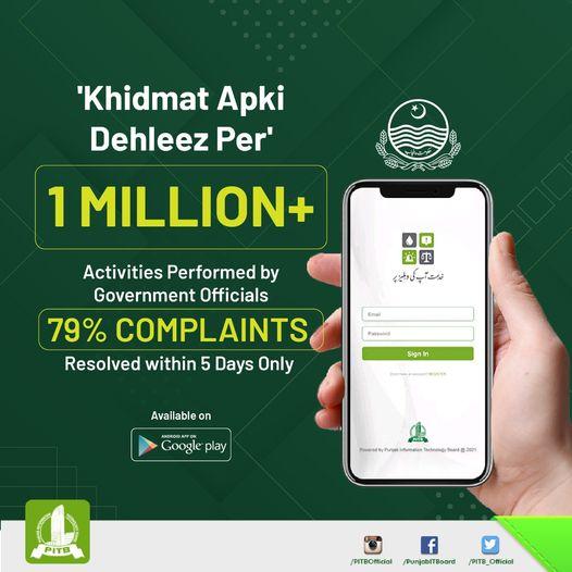 Recently launched 'Khidmat Apki Dehleez Per' app