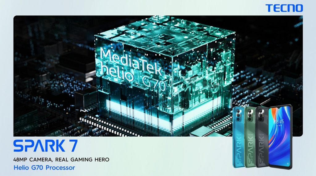 TECNO Spark 7 supports a high-end gaming processor of MediaTek Helio G70