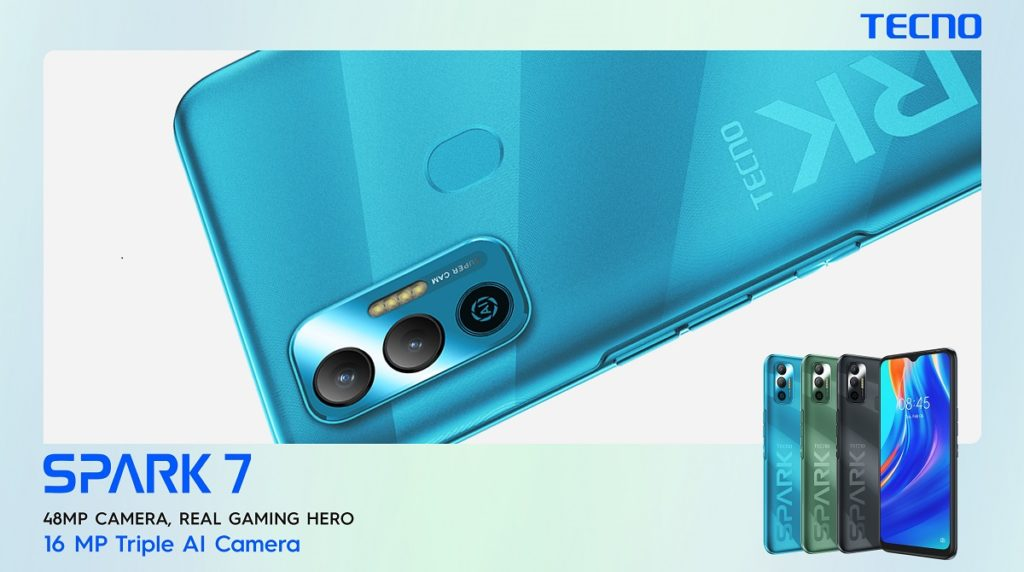 TECNO Spark 7 supports a 16MP AI rear camera with an 8MP clear selfie camera along with multiple photography features