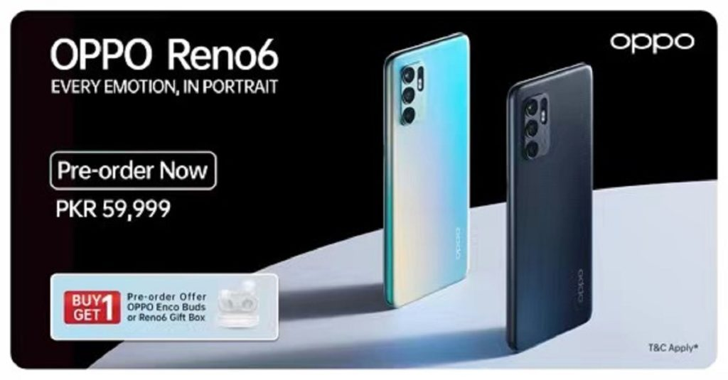 Reno6 is available for pre-order starting 8th September in Pakistan