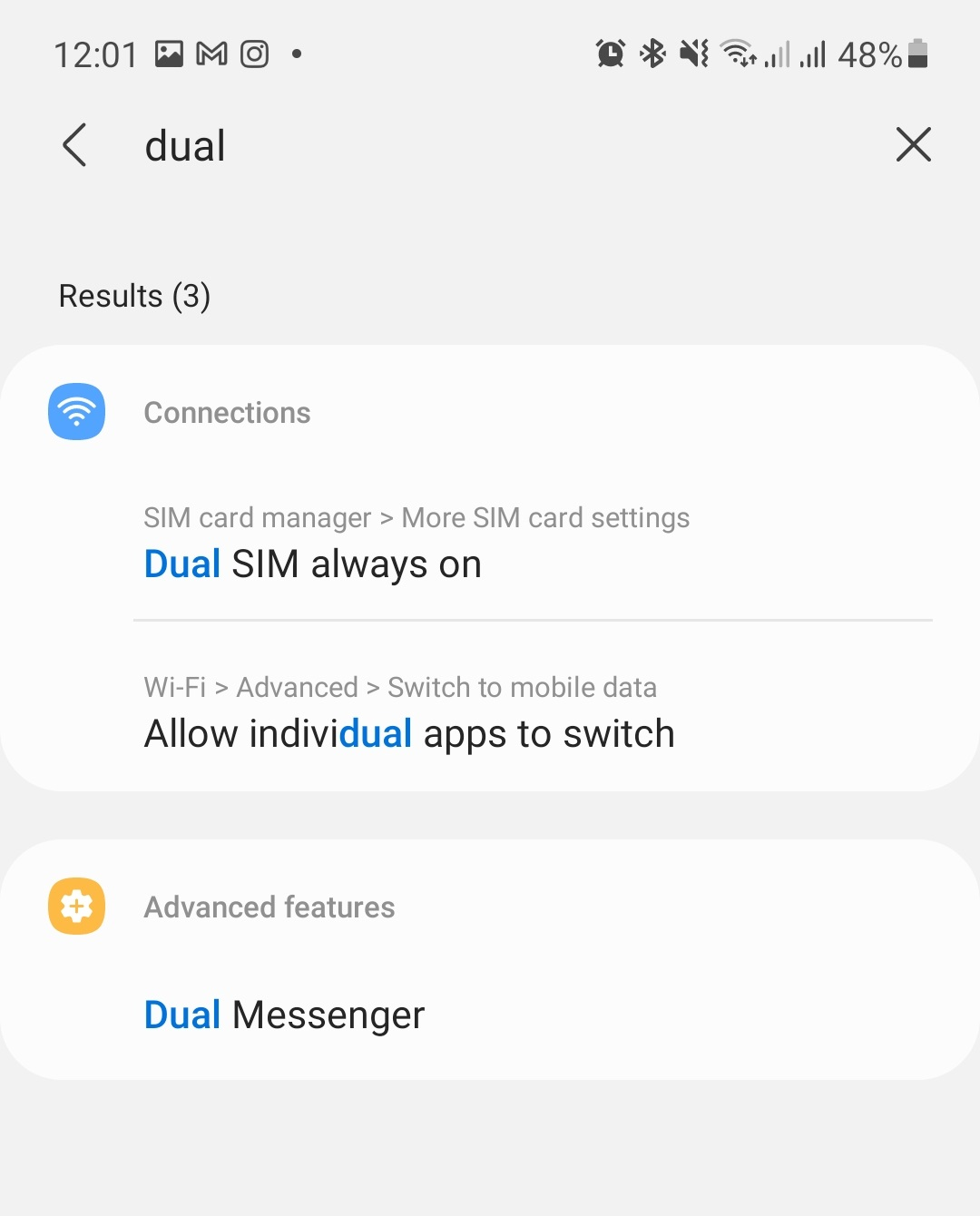 Dual messenger from settings